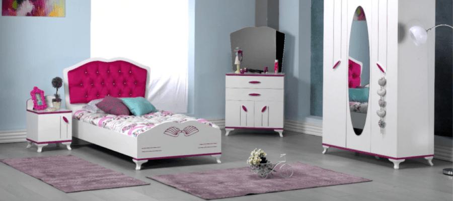 Dormitor modern, pentru copii,alb cu roz, pentru fetite, Masal