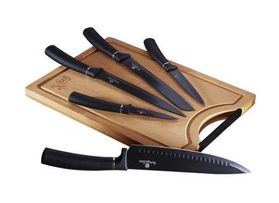 Set 5 cuțite bucătărie din inox și tocător din bambus ReTaste recenzie pret si pareri